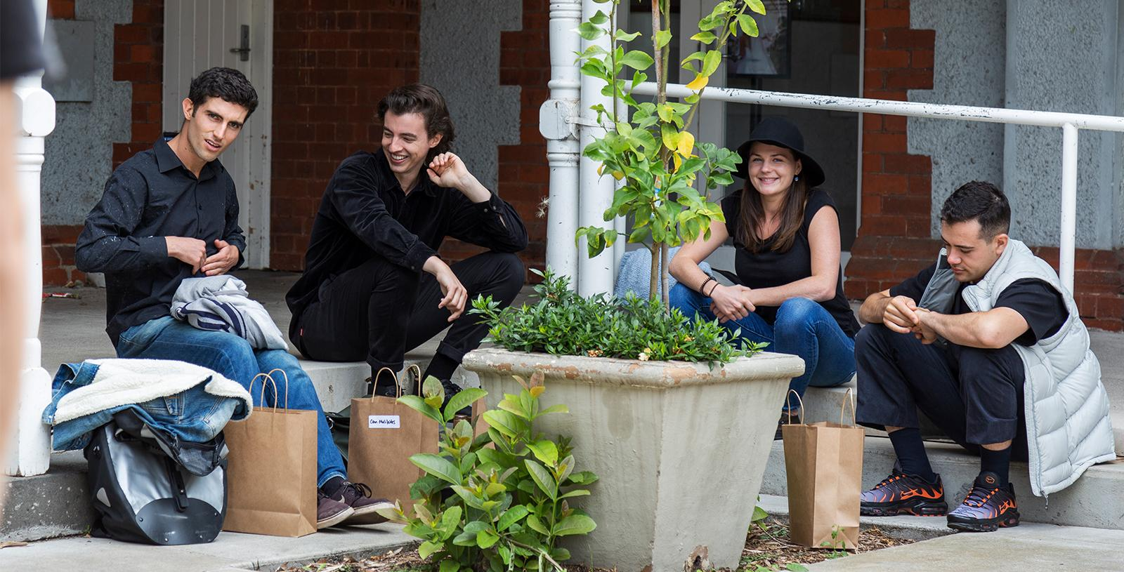 Musicians on their break – Abbotsford Convent Rosina Courtyard 8